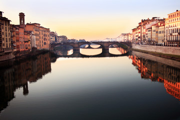 Florence Italy, view along the river at sunset