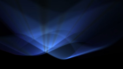 futuristic background of blue light rays and flowing curves