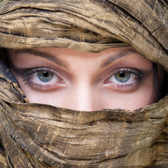 Portrait of veiled woman with beautiful eyes.