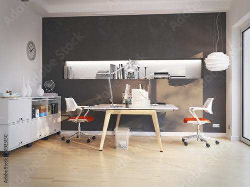 canvas print picture doppelarbeitsplatz in apartment - nice workplace in apartment
