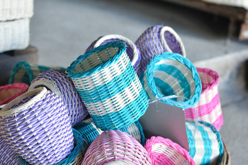 Many colorful local rattan baskets