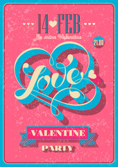 Vintage Valentine poster. Vector illustration.