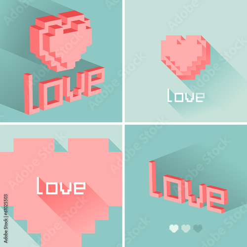 Set of flat design LOVE icons. Vector illustration.