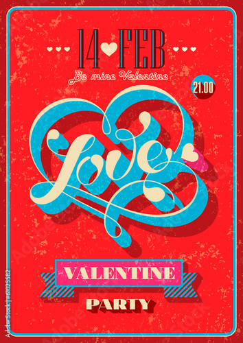 Valentine card with calligraphic lettering on a red background.
