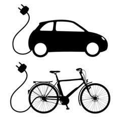 Elektroauto / Elektrofahrrad Vektor Silhouette