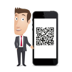 Business character - Smartphone QR code