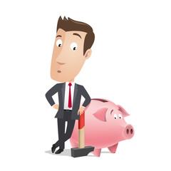 Business character - piggy bank