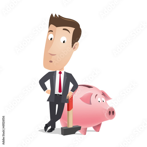 Business character - piggy bank
