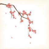 Plum blooming tree in Oriental painting style - 61026567