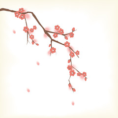 Plum blooming tree in Oriental painting style