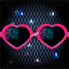 glasses on disco background. vector