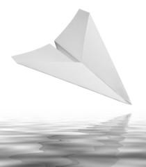falling white paper plane