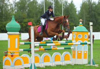 Female rider on her horse leaping over a hurdle