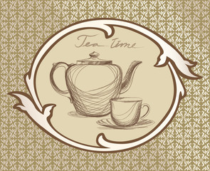 Tea time vintage label set.