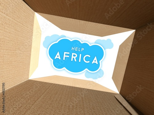 Help Africa seen from interior of cardboard box