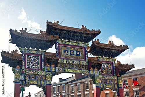 Chinese arch, at the entrance to the chinatown district of Liver