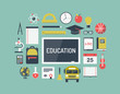 Education items flat icons set