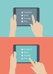 Customer service online feedback flat illustration