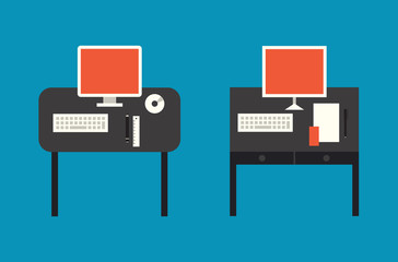 Computer desktop flat illustration