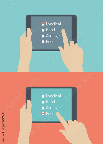 Customer service online feedback flat illustration