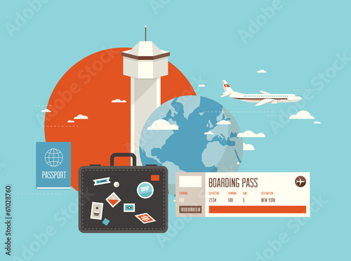 Flat illustration of travel on airplane
