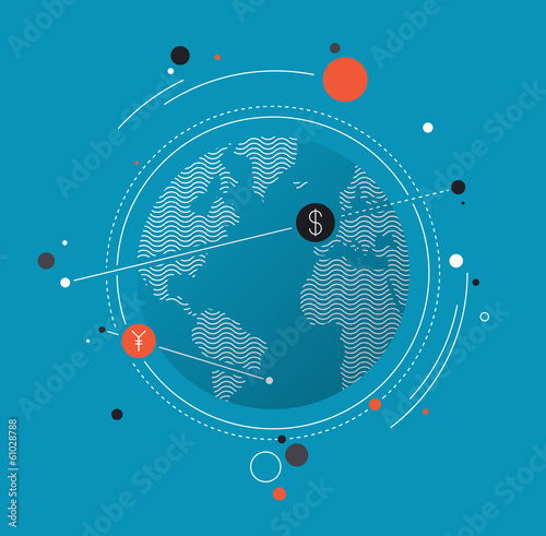 Global money exchange flat illustration concept