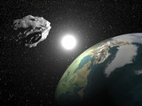 Asteroid near earth - 3D render