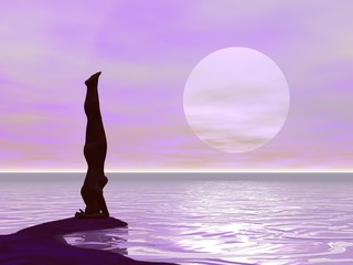 Yoga by sunset - 3D render
