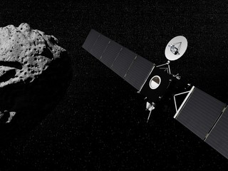 Rosetta probe and asteroid- 3D render