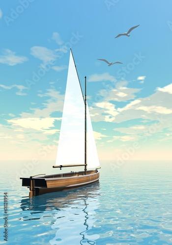 Sailing boat - 3D render - 61028954