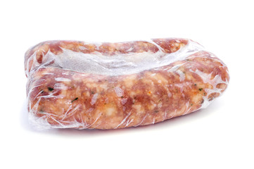 frozen spiced pork meat sausages