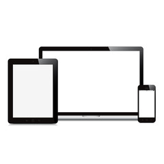 laptop smartphone and tablet on white background