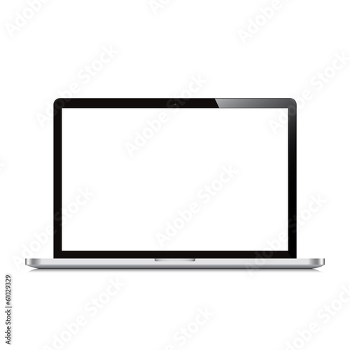 laptop open screen white background