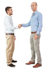 zwei männliche händ im hemd und visitenkarte isoliert