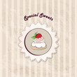 Pastry on vintage background. Sweets gift card. Cupcake set