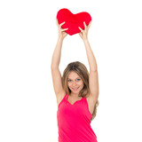 young woman holding a red heart