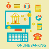 Online banking flat design illustration
