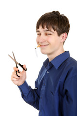 Teenager cutting a Cigarette