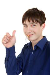 Teenager with Broken Cigarette