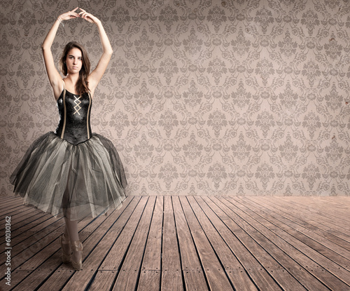attractive ballerina on tiptoe