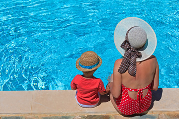 mother and son at the swimming pool