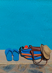 summer beach bag and flip flops for outdoor pool