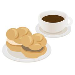 シュークリームとコーヒー
