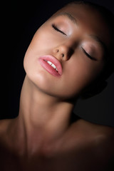 Aspiration. Woman with Closed Eyes in Thoughts. Desire & Passion