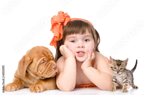 girl with a cat and a dog. isolated on white background