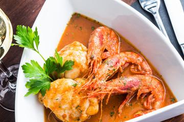 Monkfish with prawn