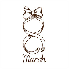 Eight 8 of march ribbon.