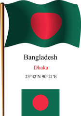 bangladesh wavy flag and coordinates
