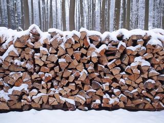 Holzscheite im verschneiten Wald