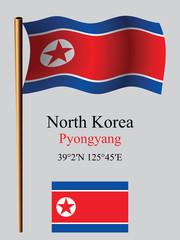 north korea wavy flag and coordinates